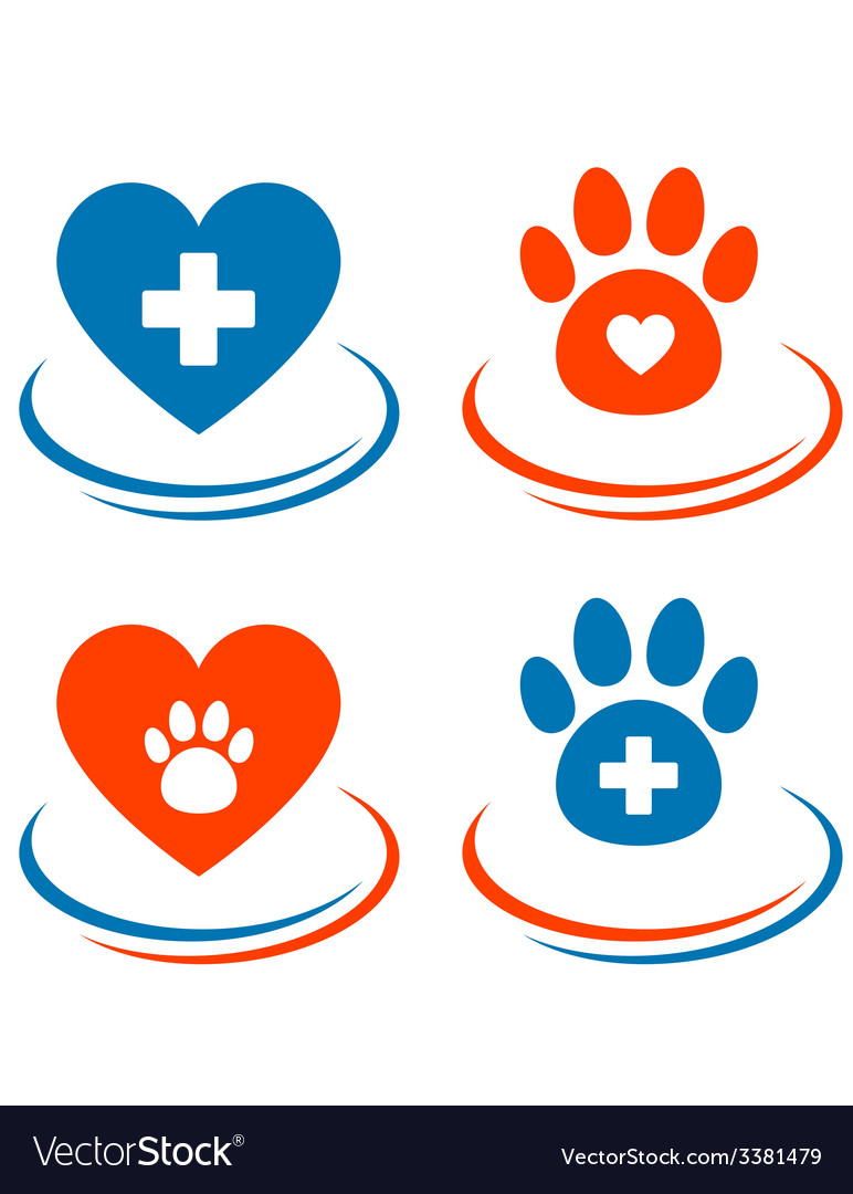 Set of veterinary symbols heart cross and paw vector | Price: 1 Credit (USD $1)
