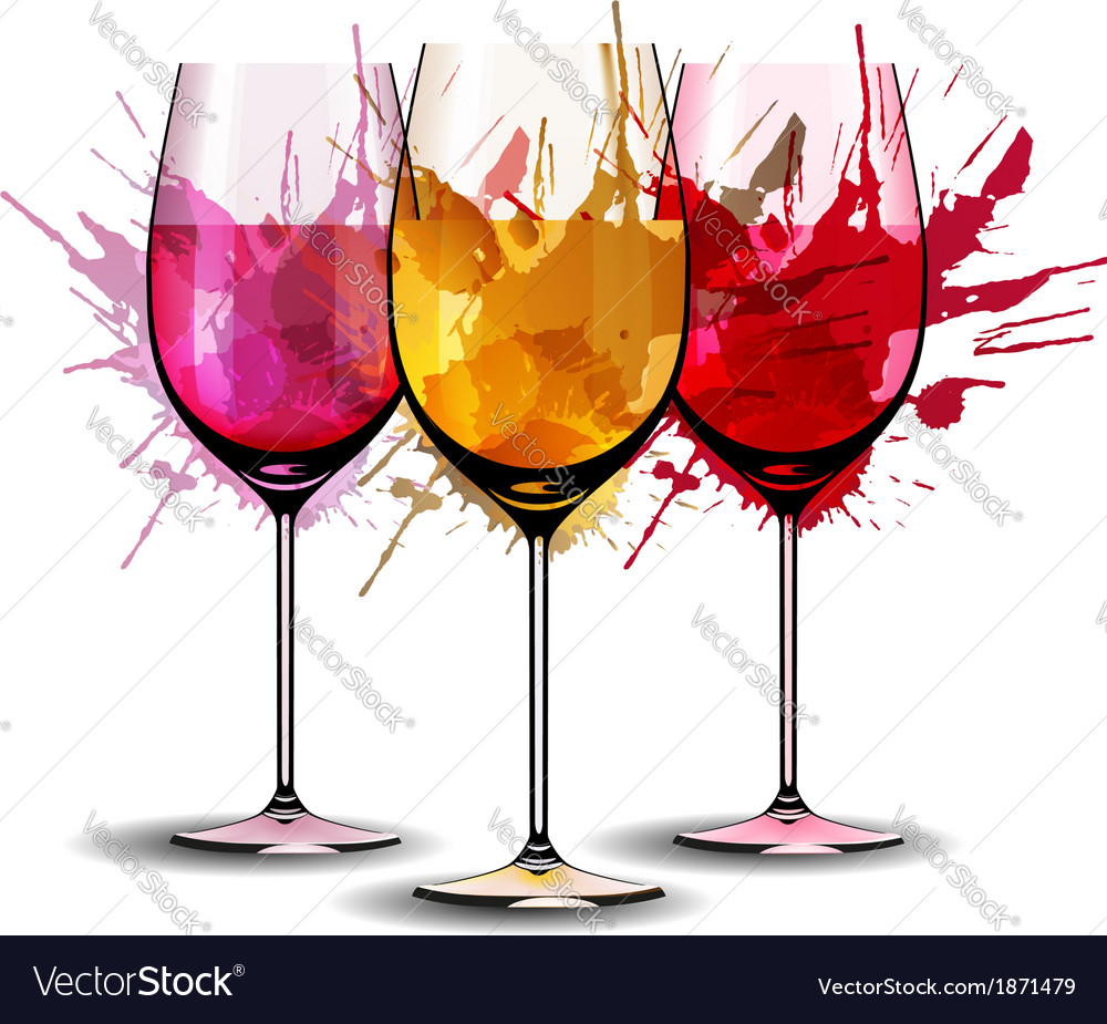 Three wine glasses with splashes vector | Price: 1 Credit (USD $1)