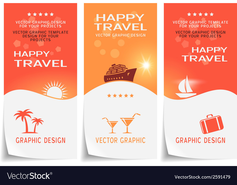 Travel banner poster sticker flyer ticket vector | Price: 1 Credit (USD $1)