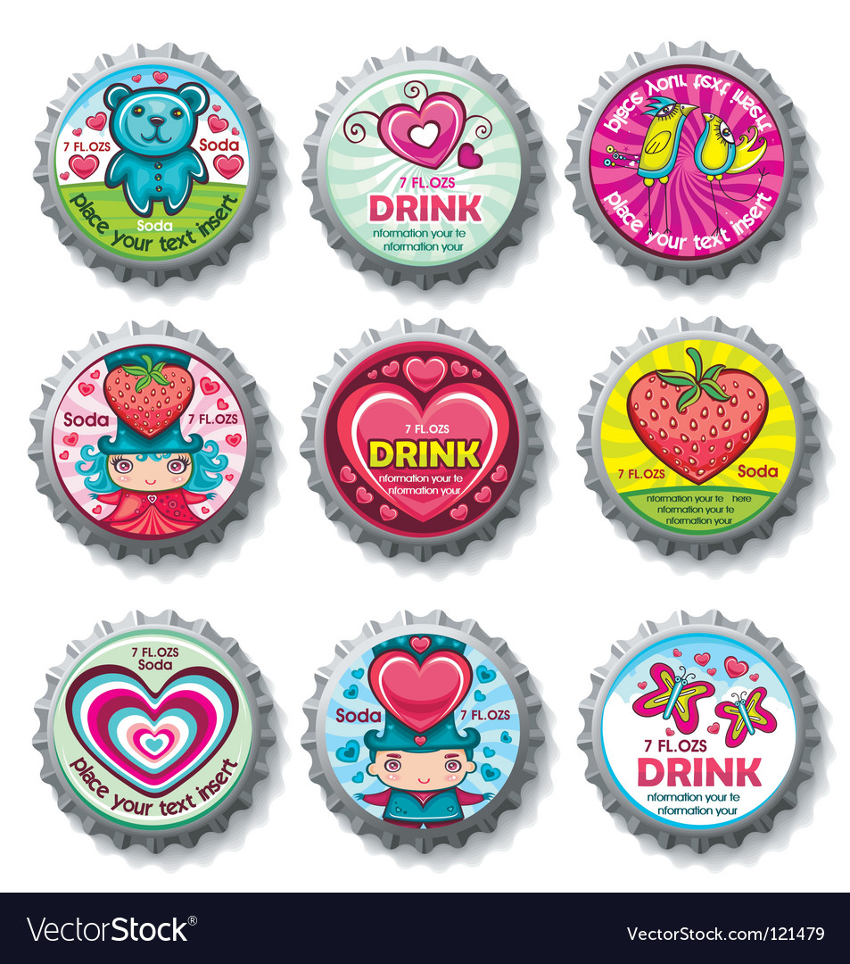 Valentines bottle tops vector | Price: 3 Credit (USD $3)