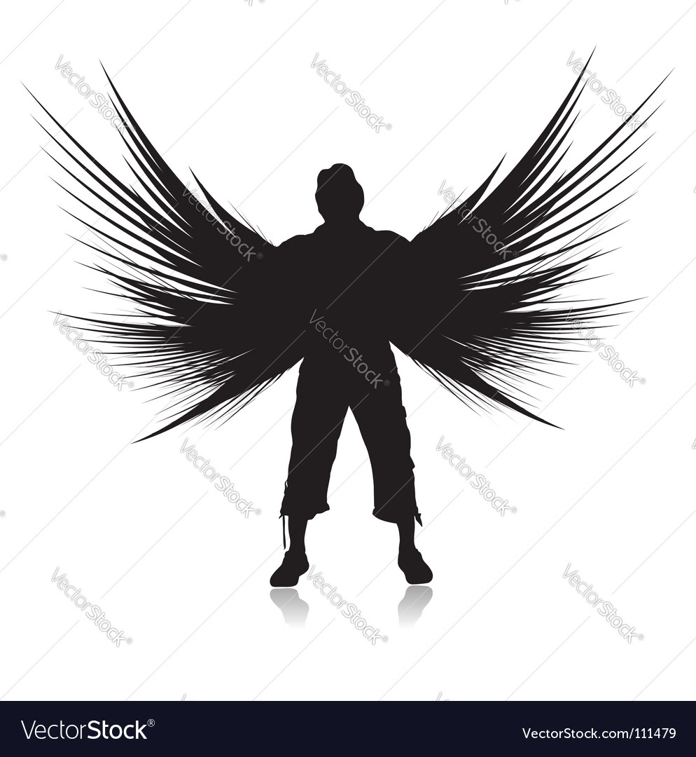Winged man vector | Price: 1 Credit (USD $1)
