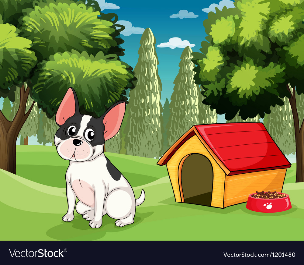 A dog near a doghouse with a dog food vector | Price: 1 Credit (USD $1)