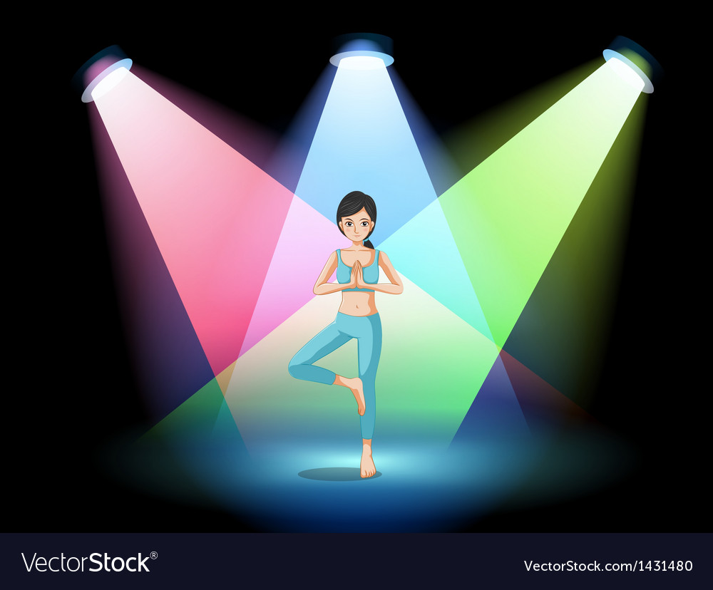 A girl doing yoga in the middle of the stage vector | Price: 1 Credit (USD $1)