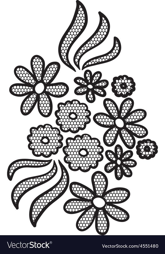 Black lace flower applique vector | Price: 1 Credit (USD $1)