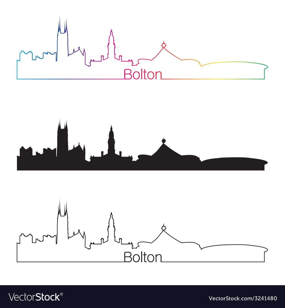Bolton skyline linear style with rainbow vector | Price: 1 Credit (USD $1)