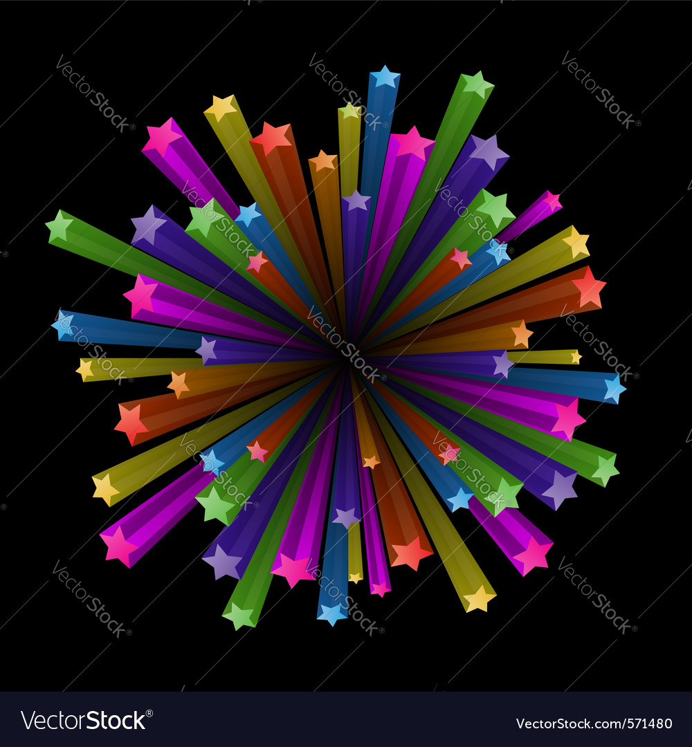 Colorful stars explode vector | Price: 1 Credit (USD $1)