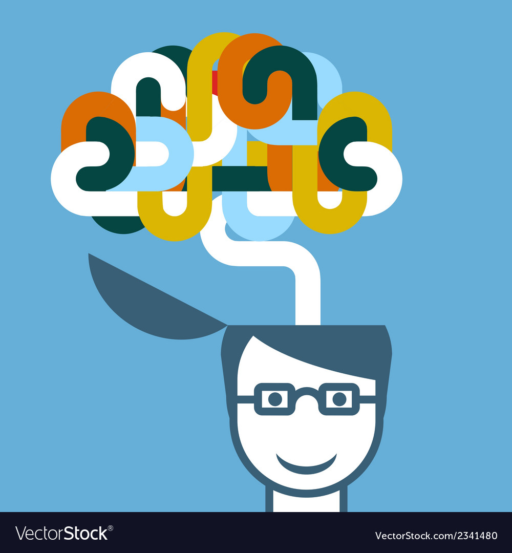 Creative person - head with imaginative brain vector | Price: 1 Credit (USD $1)