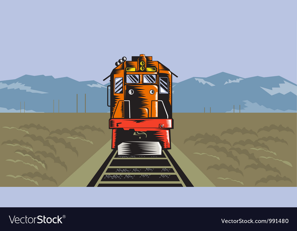 Diesel train front rear woodcut retro vector | Price: 1 Credit (USD $1)