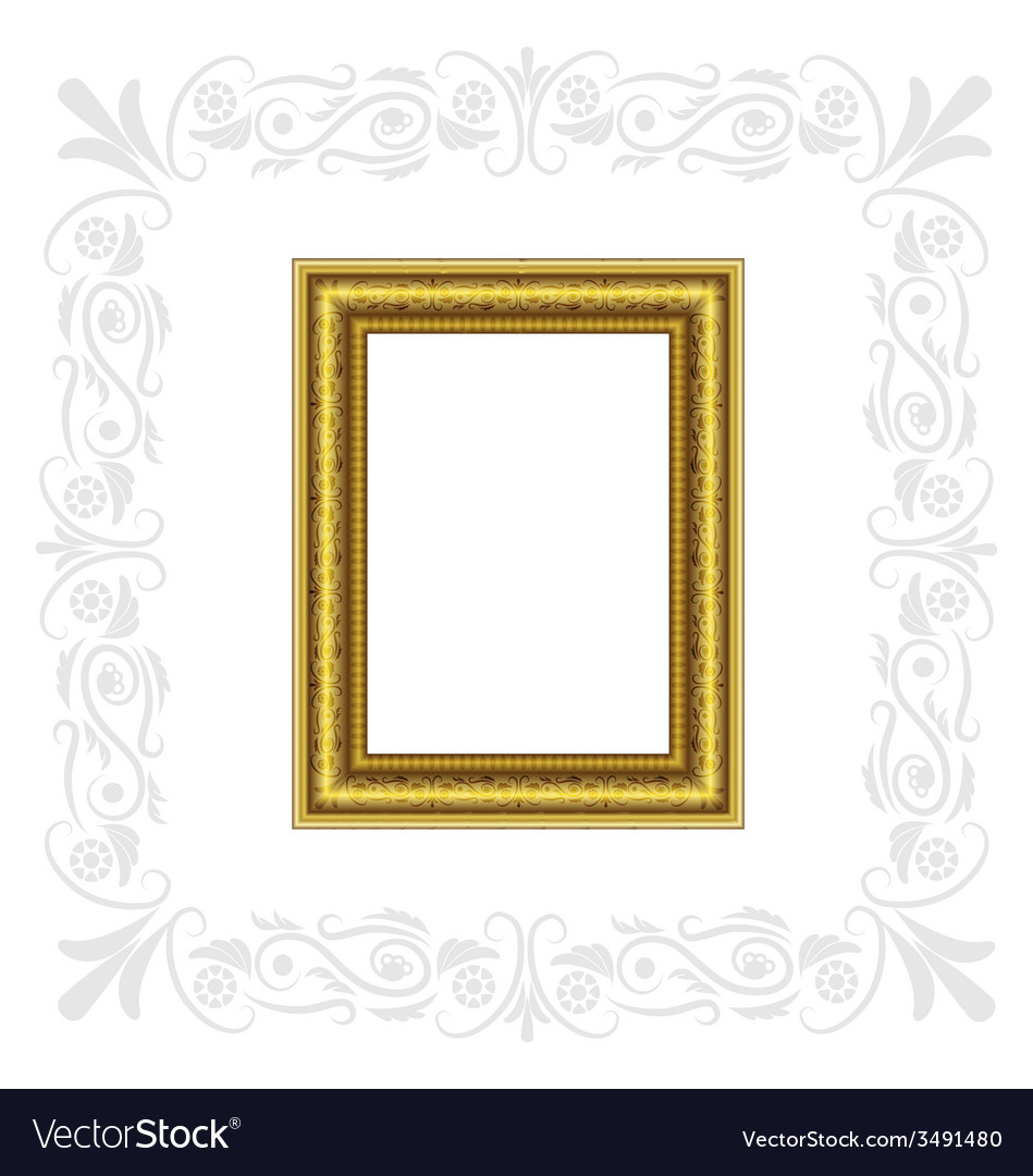 Golden frame with gray ornament vector | Price: 1 Credit (USD $1)