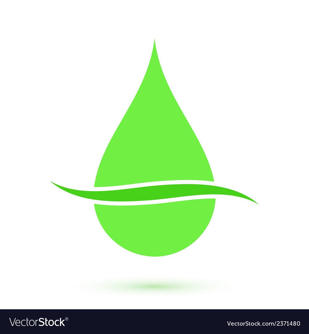 Green drop symbol conceptual icon vector | Price: 1 Credit (USD $1)