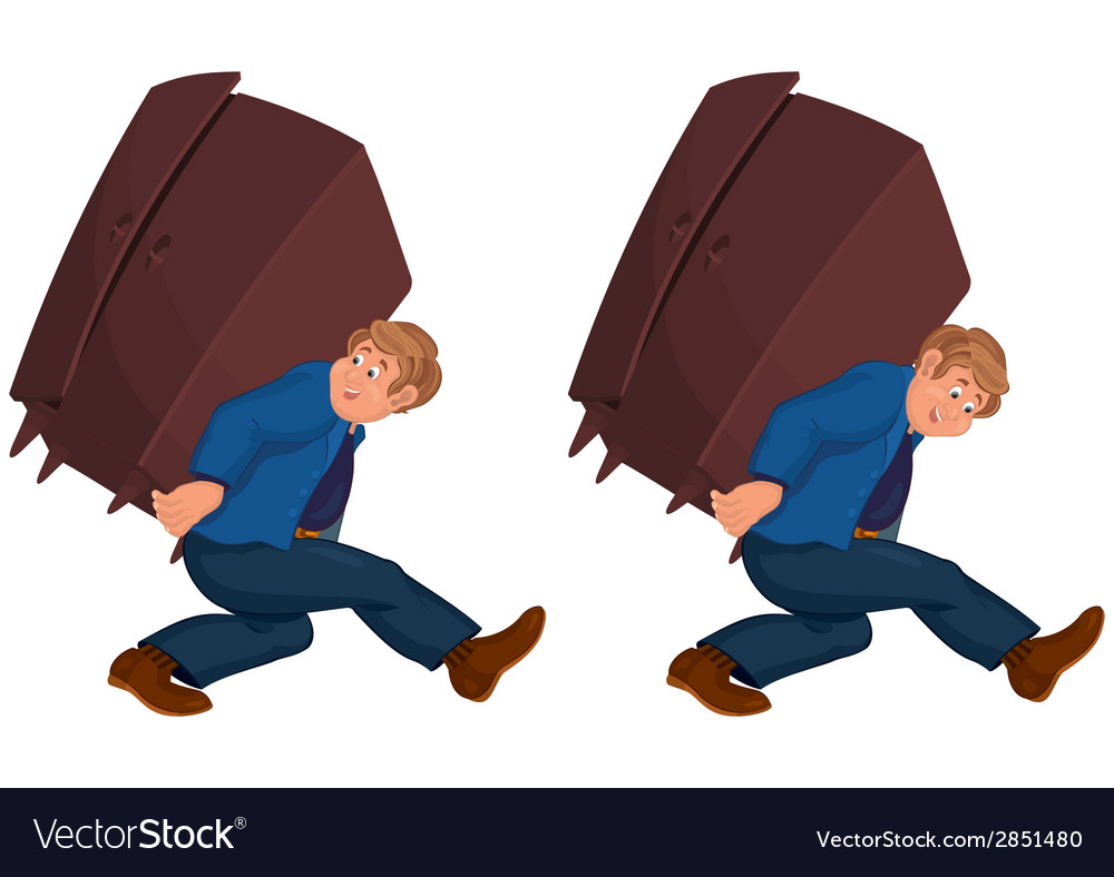 Happy cartoon man walking with heavy furniture vector | Price: 1 Credit (USD $1)