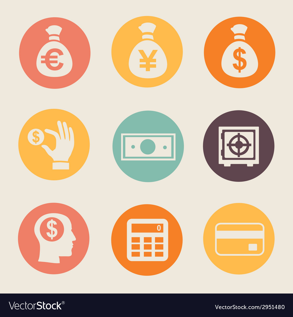 Money and coin icon set vector | Price: 1 Credit (USD $1)