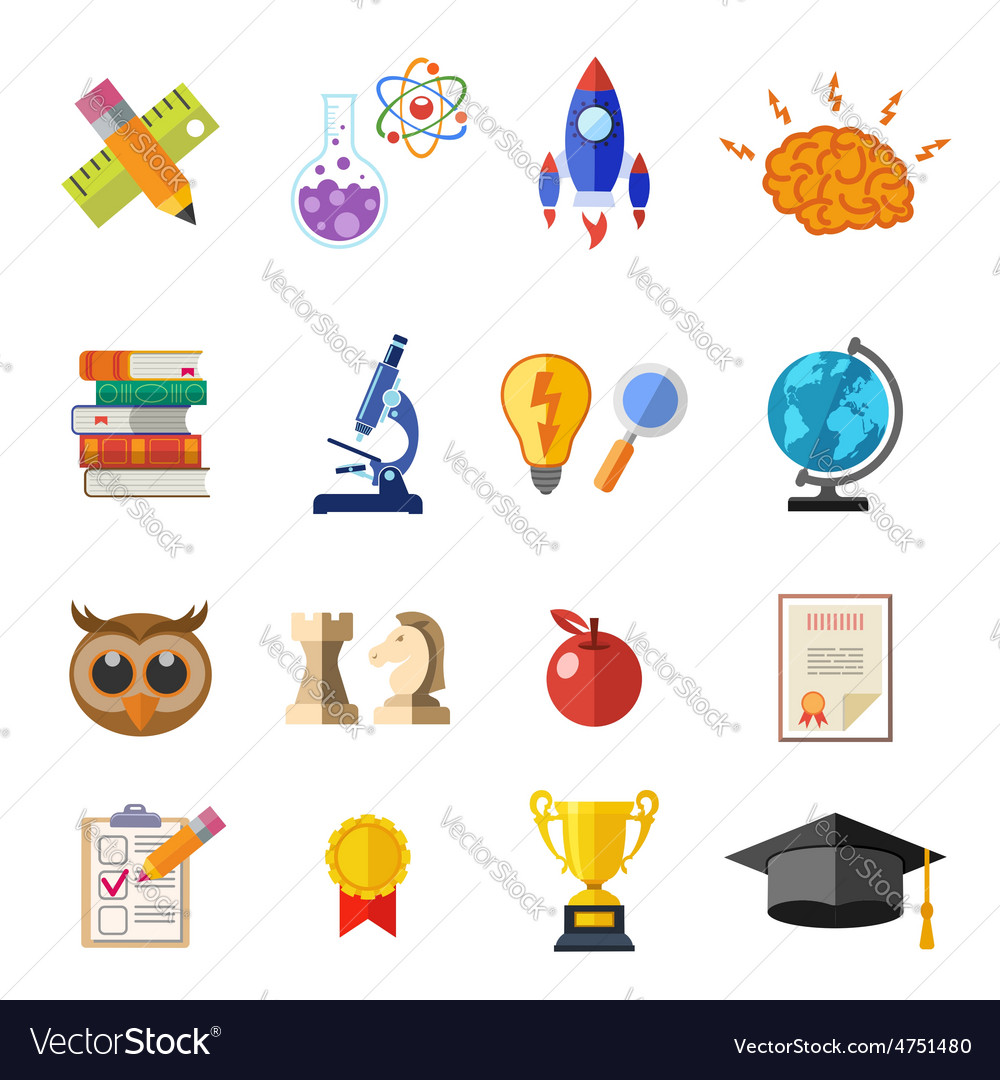 Online education flat icon set vector | Price: 1 Credit (USD $1)
