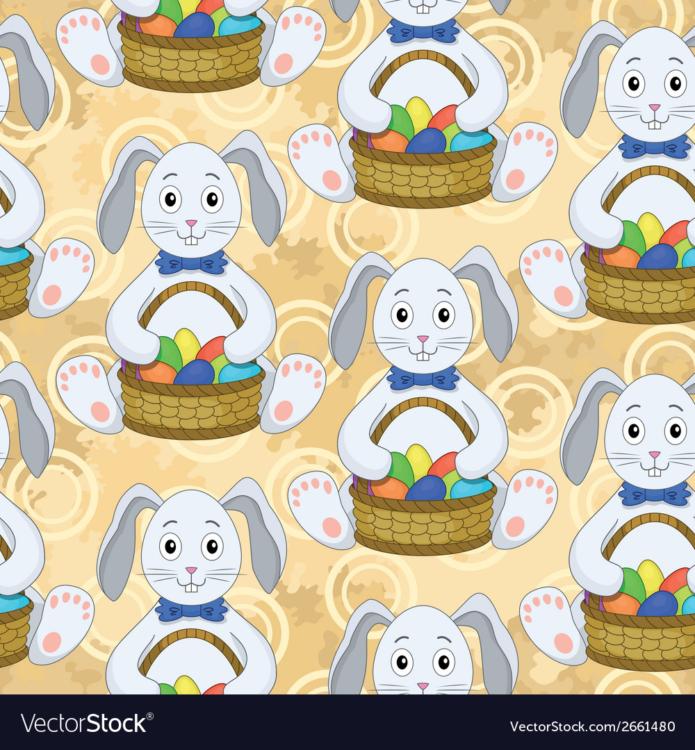 Seamless pattern bunnies with easter eggs vector | Price: 1 Credit (USD $1)