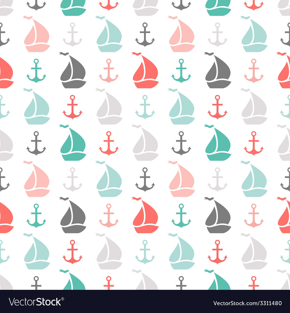 Seamless pattern of anchor and sailboat shape vector | Price: 1 Credit (USD $1)