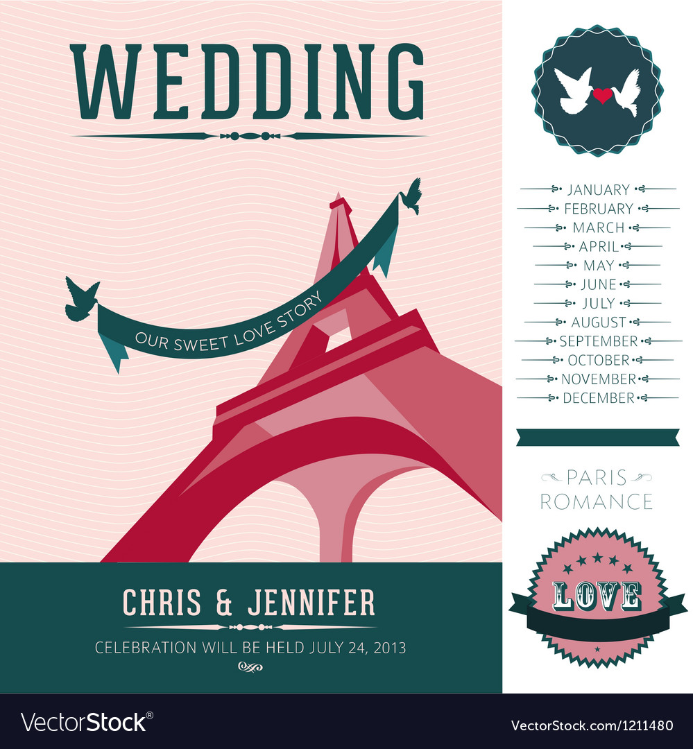 Wedding invitation paris vector | Price: 3 Credit (USD $3)