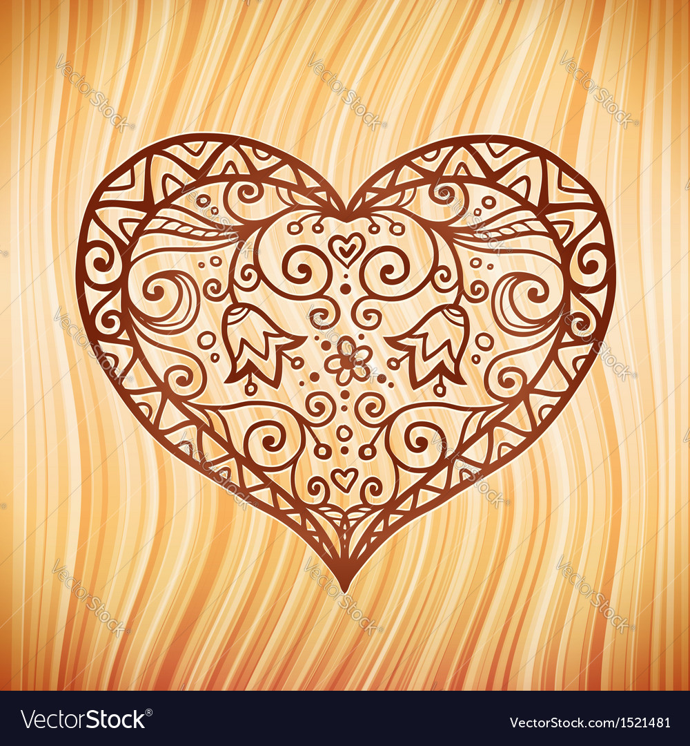 Brown ornate heart on wooden background vector | Price: 1 Credit (USD $1)