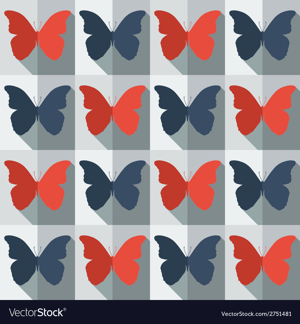 Flat style seamless pattern with butterflies vector | Price: 1 Credit (USD $1)