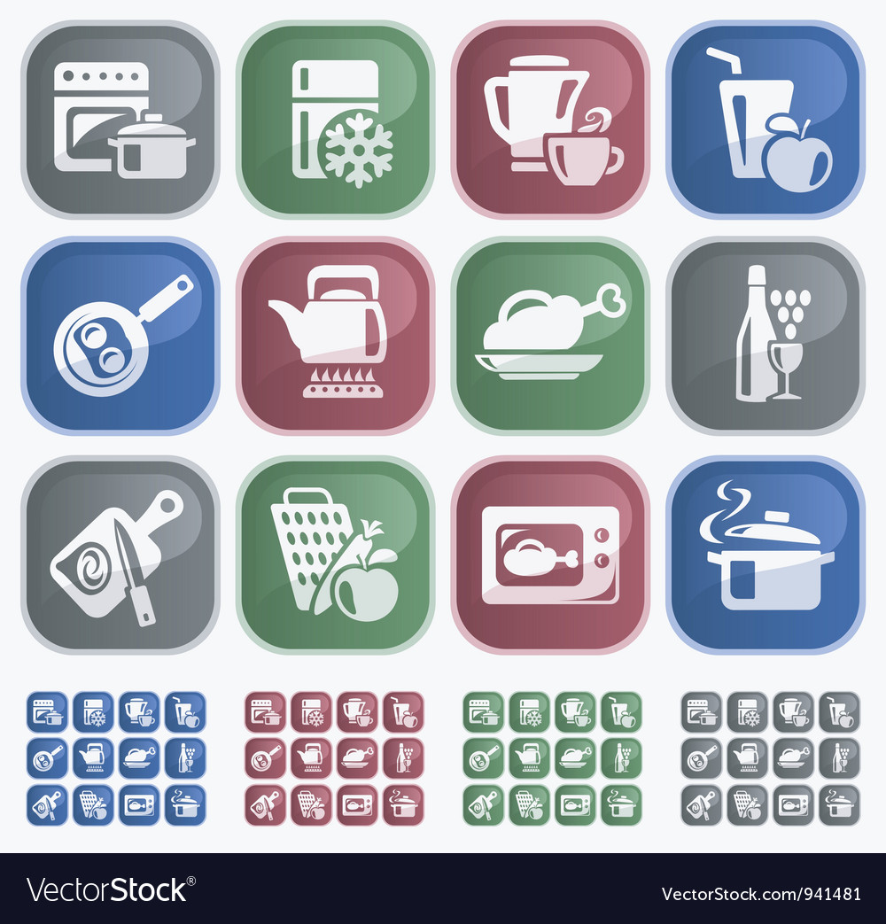 Kitchen and cooking buttons vector | Price: 1 Credit (USD $1)