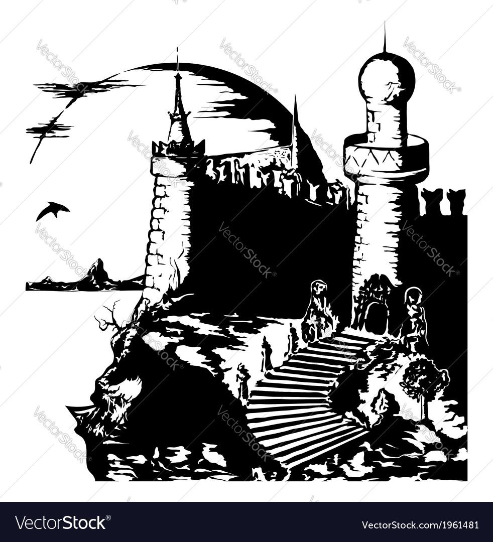 Old dark gloomy castle vector | Price: 1 Credit (USD $1)