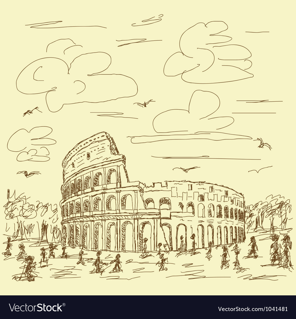 Rome colosseum vintage vector | Price: 1 Credit (USD $1)