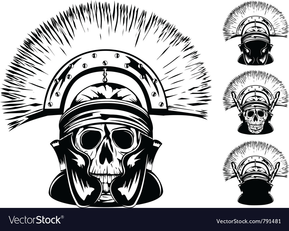 Skull in helmet vector | Price: 1 Credit (USD $1)