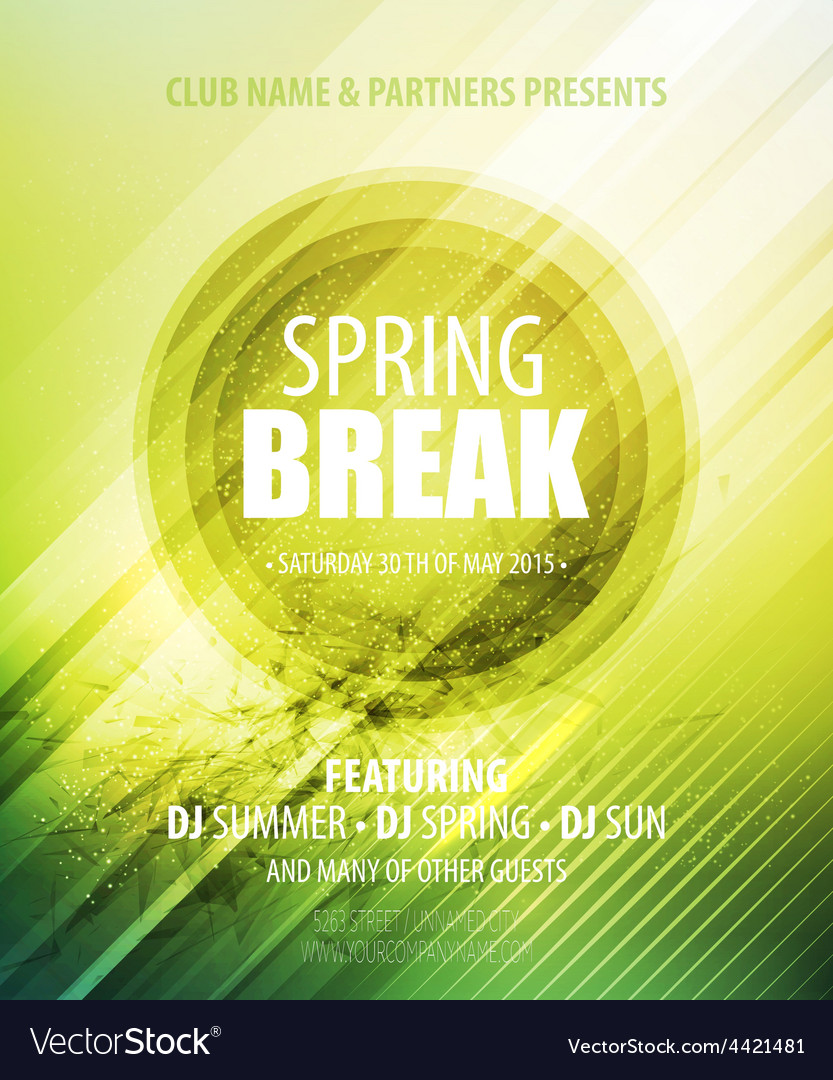 Spring break party template poster vector | Price: 3 Credit (USD $3)
