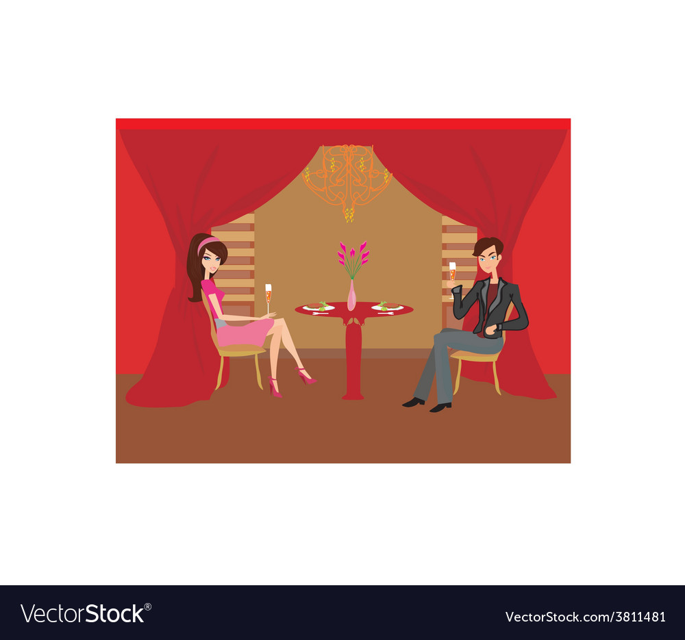 Young couple flirt and drink champagne vector | Price: 1 Credit (USD $1)