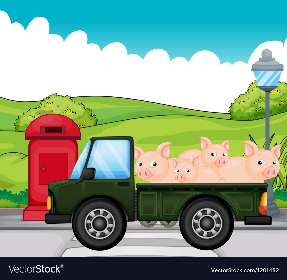 A green vehicle with pigs at the back vector | Price: 1 Credit (USD $1)