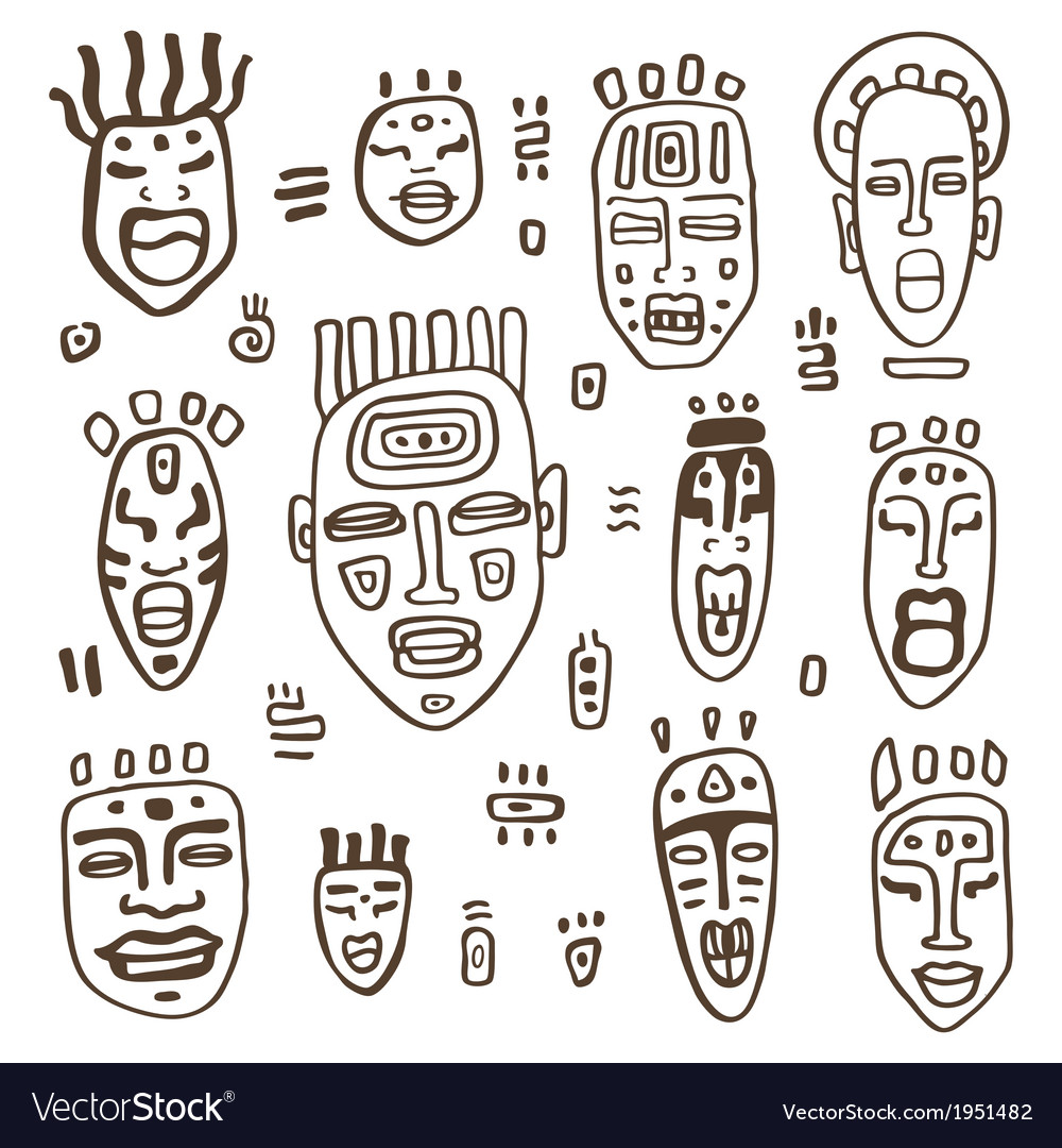 African masks set vector | Price: 1 Credit (USD $1)