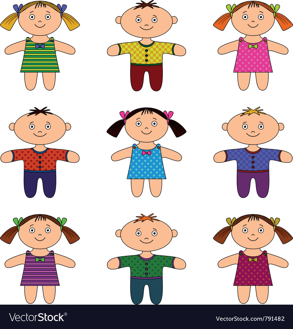 Children boys and girls set vector | Price: 1 Credit (USD $1)