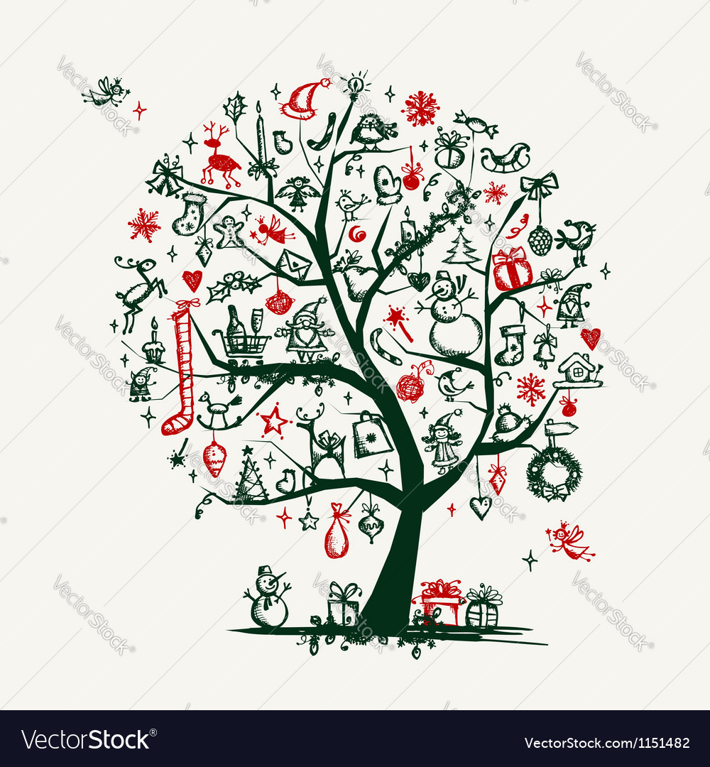 Christmas tree sketch for your design vector | Price: 1 Credit (USD $1)