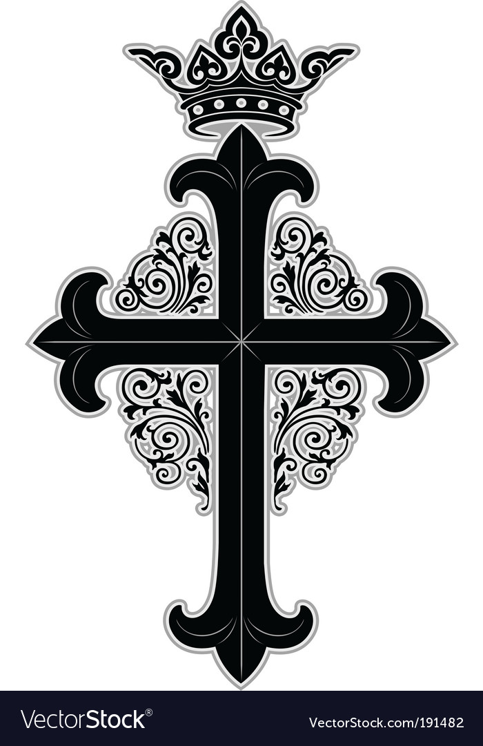 Crowned cross vector | Price: 1 Credit (USD $1)