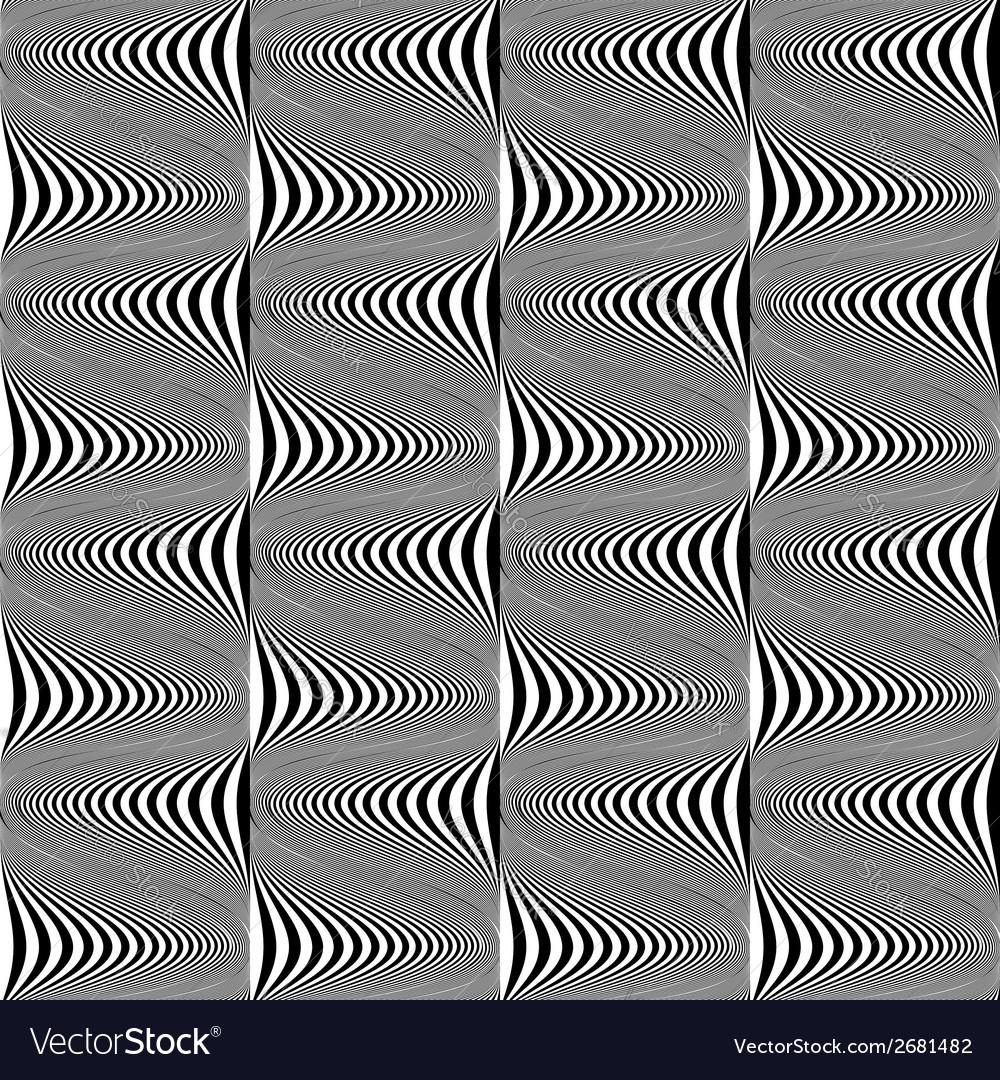 Design seamless monochrome warped pattern vector | Price: 1 Credit (USD $1)