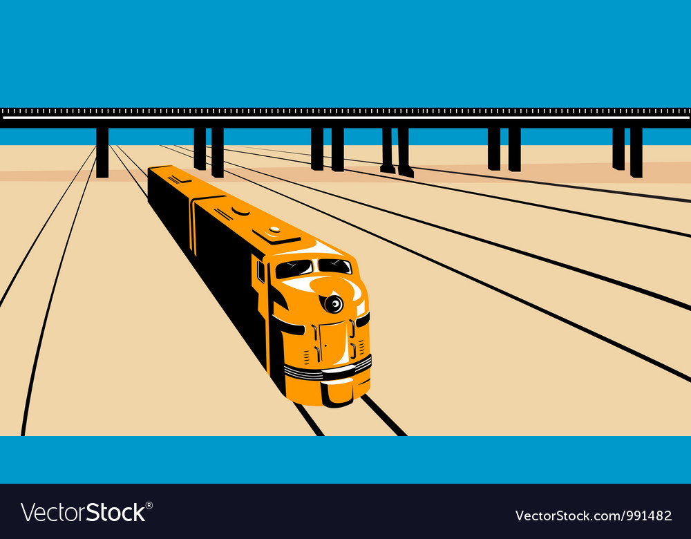 Diesel train high angle retro vector | Price: 1 Credit (USD $1)