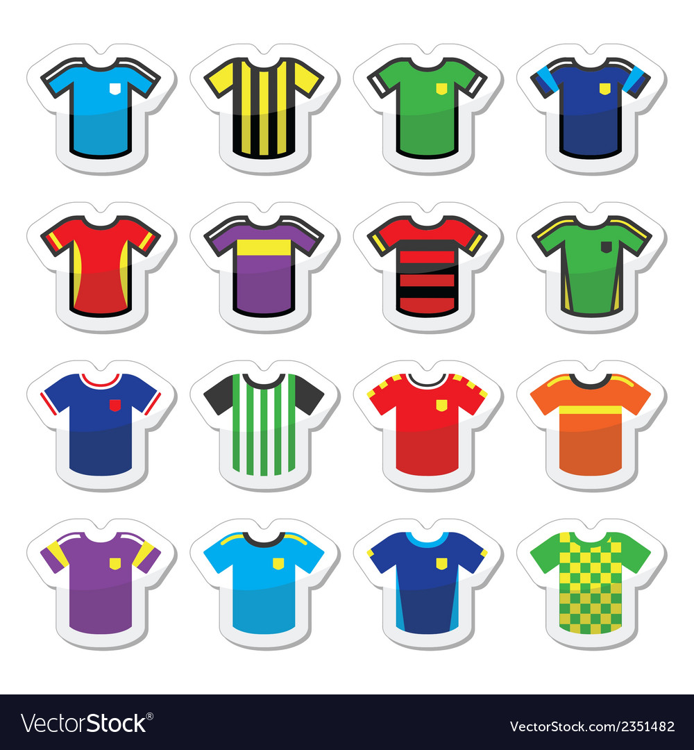 Football or soccer jerseys colorful icons set vector | Price: 1 Credit (USD $1)
