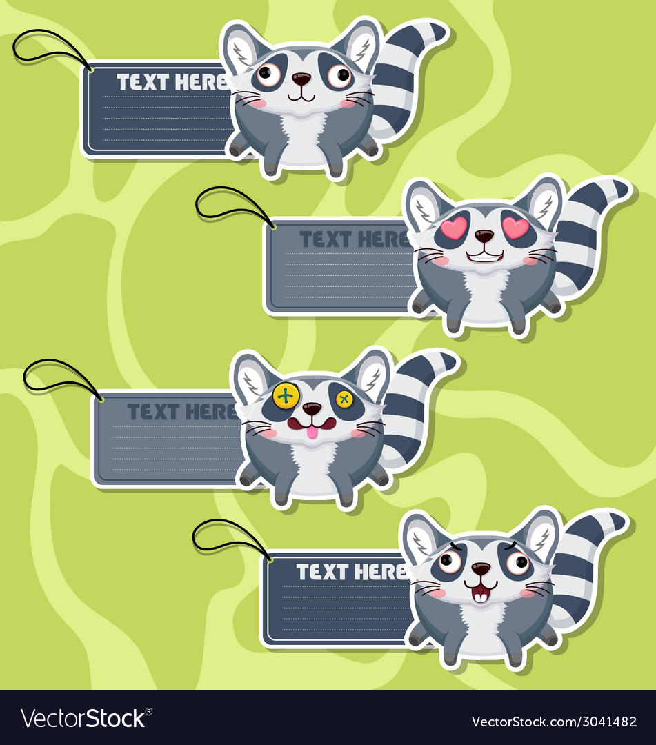 Four cute cartoon raccoons stickers vector | Price: 1 Credit (USD $1)