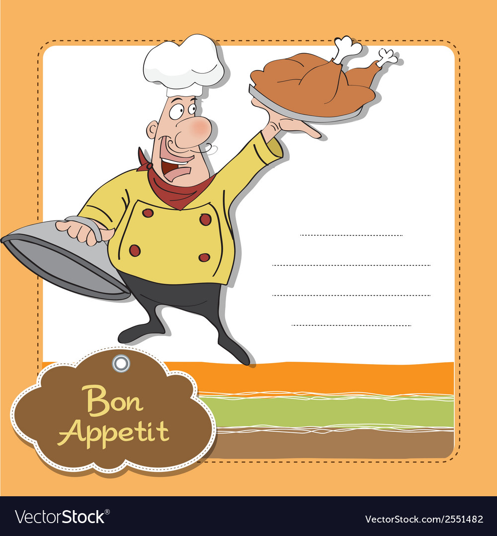 Funny cartoon chef with tray of food in hand vector | Price: 1 Credit (USD $1)
