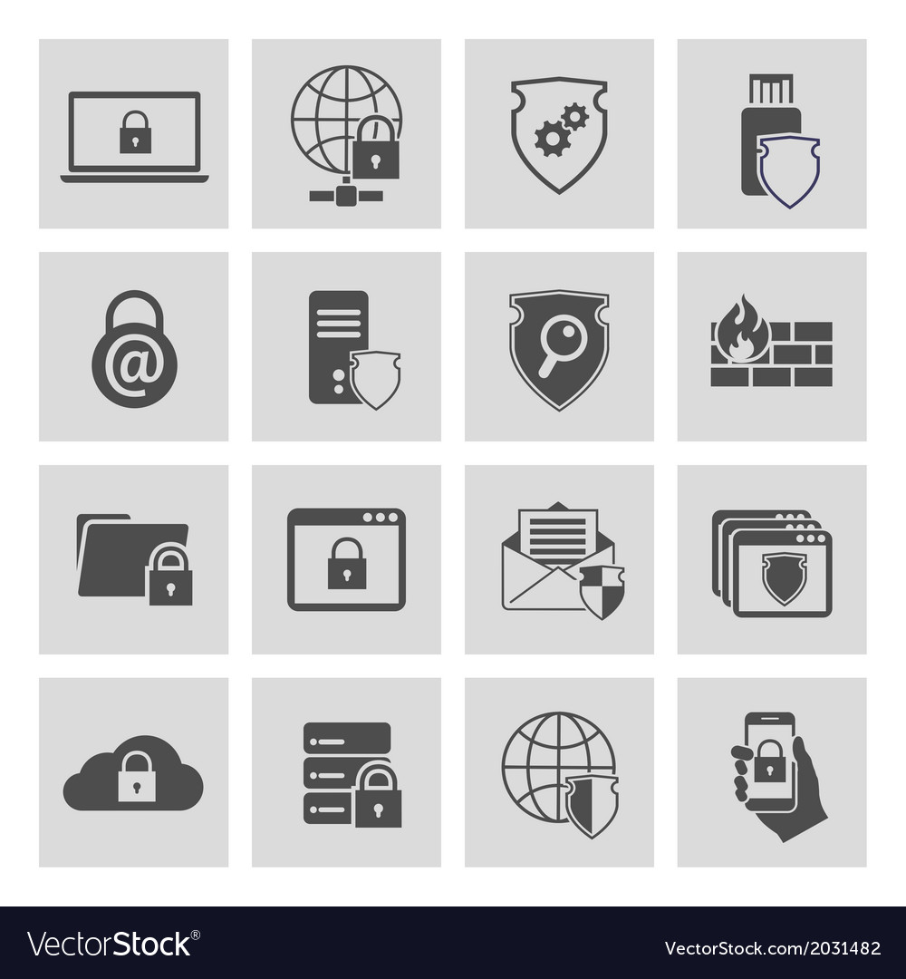Information technology security icons set vector | Price: 3 Credit (USD $3)