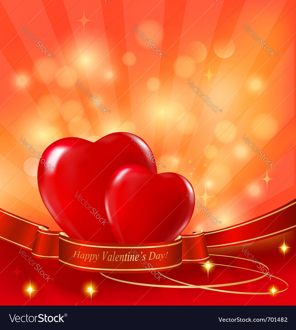 Two red hearts background vector | Price: 1 Credit (USD $1)