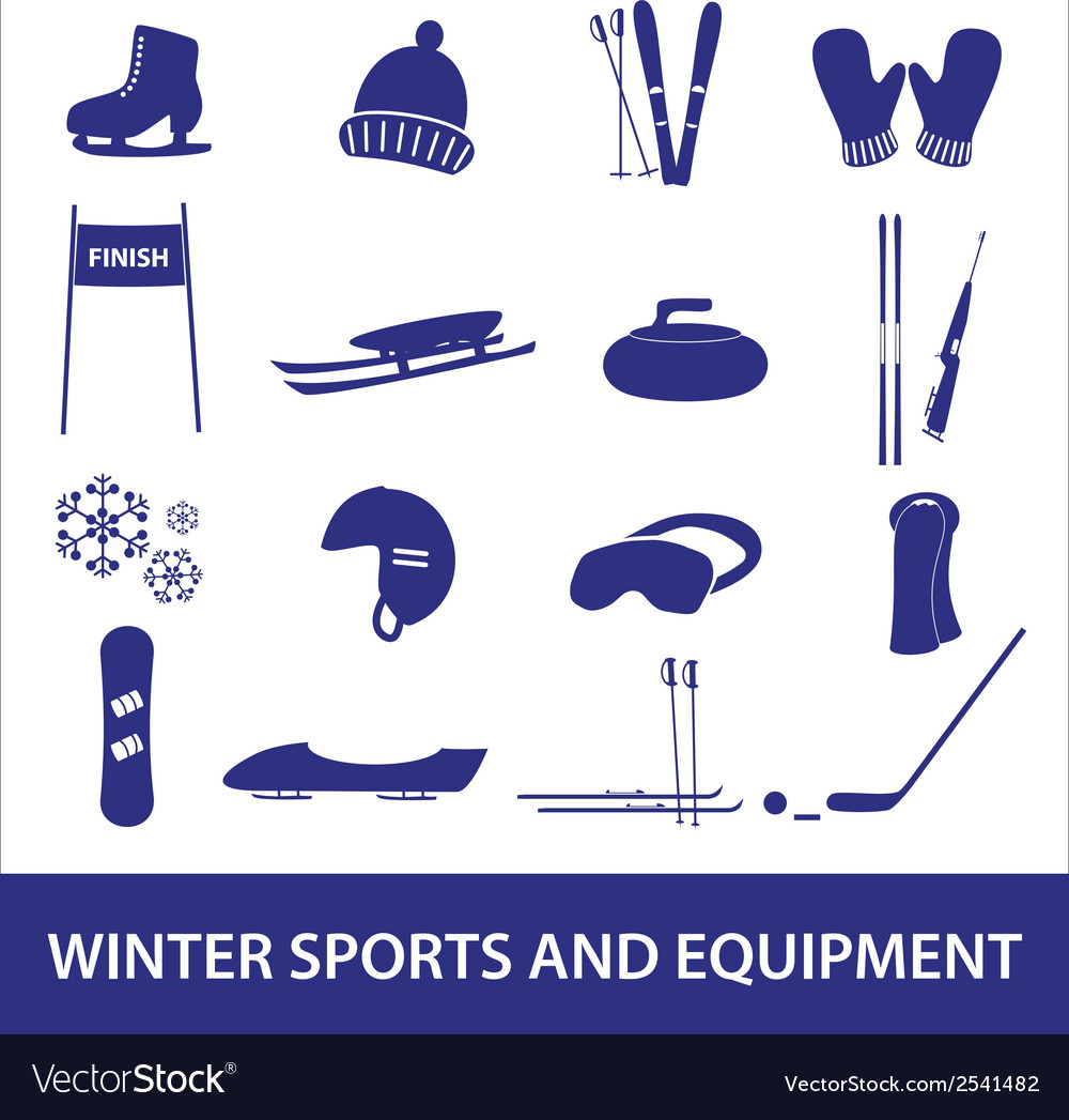 Winter sports and equipment icons eps10 vector | Price: 1 Credit (USD $1)