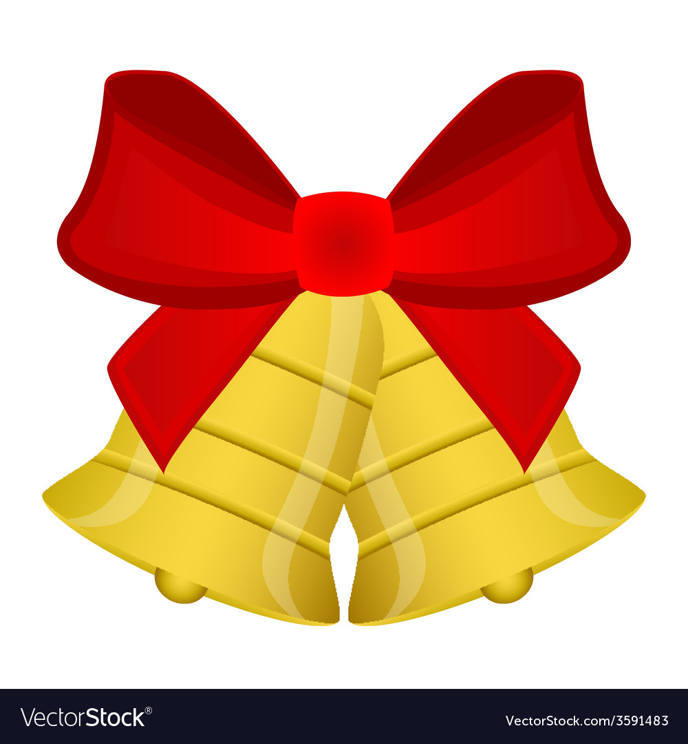 Christmas bells with red bow vector   Price: 1 Credit (USD $1)