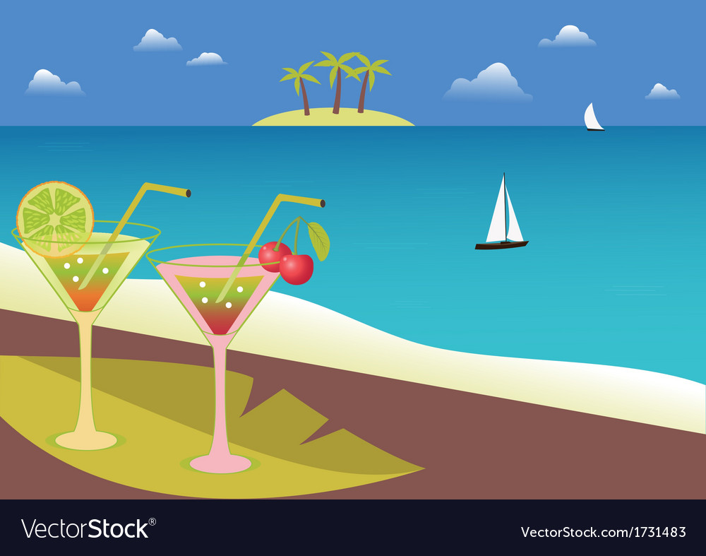 Coctails on the tropical beach vector | Price: 1 Credit (USD $1)