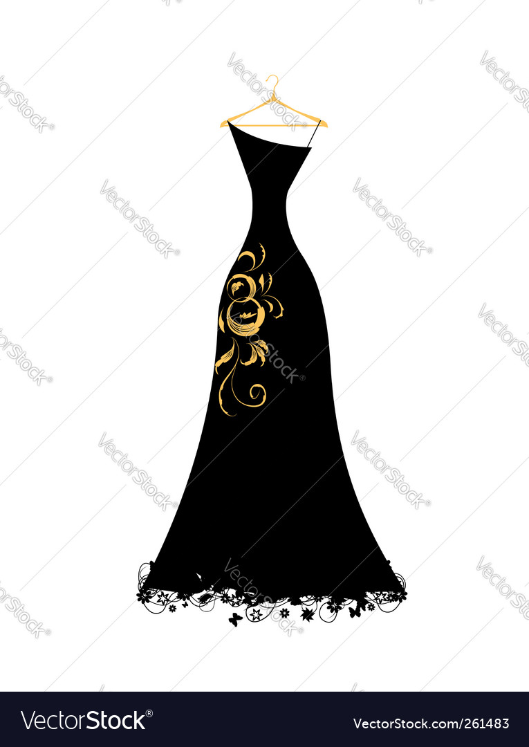 Evening dress black on hangers vector | Price: 1 Credit (USD $1)