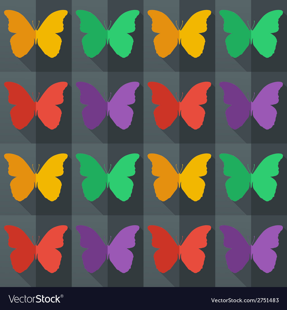 Flat style seamless pattern with butterflies vector   Price: 1 Credit (USD $1)