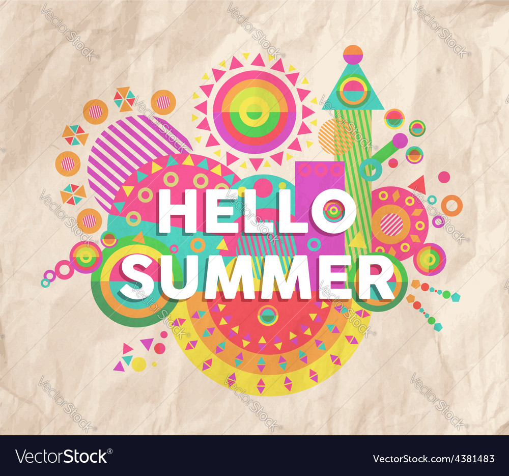 Hello summer quote poster design vector | Price: 1 Credit (USD $1)