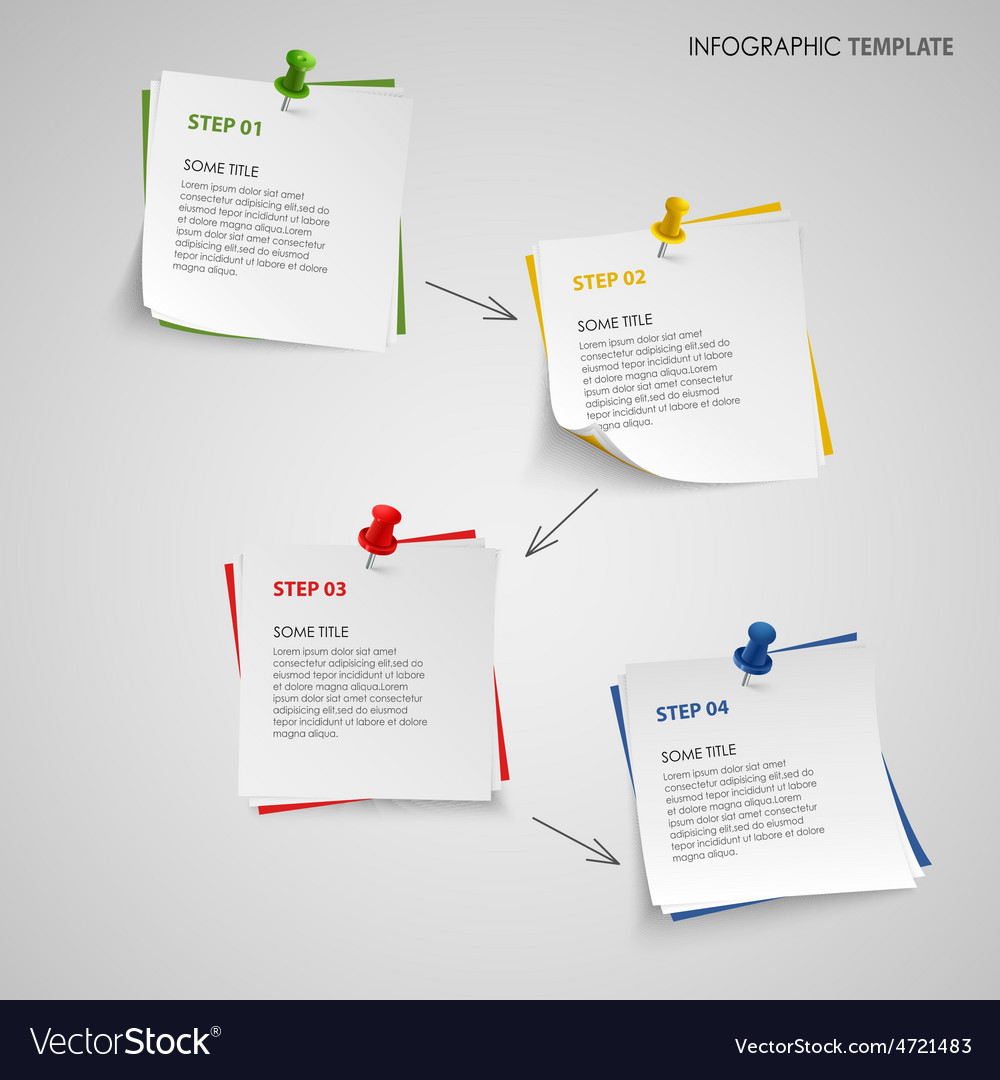 Info graphic with note paper template vector | Price: 1 Credit (USD $1)