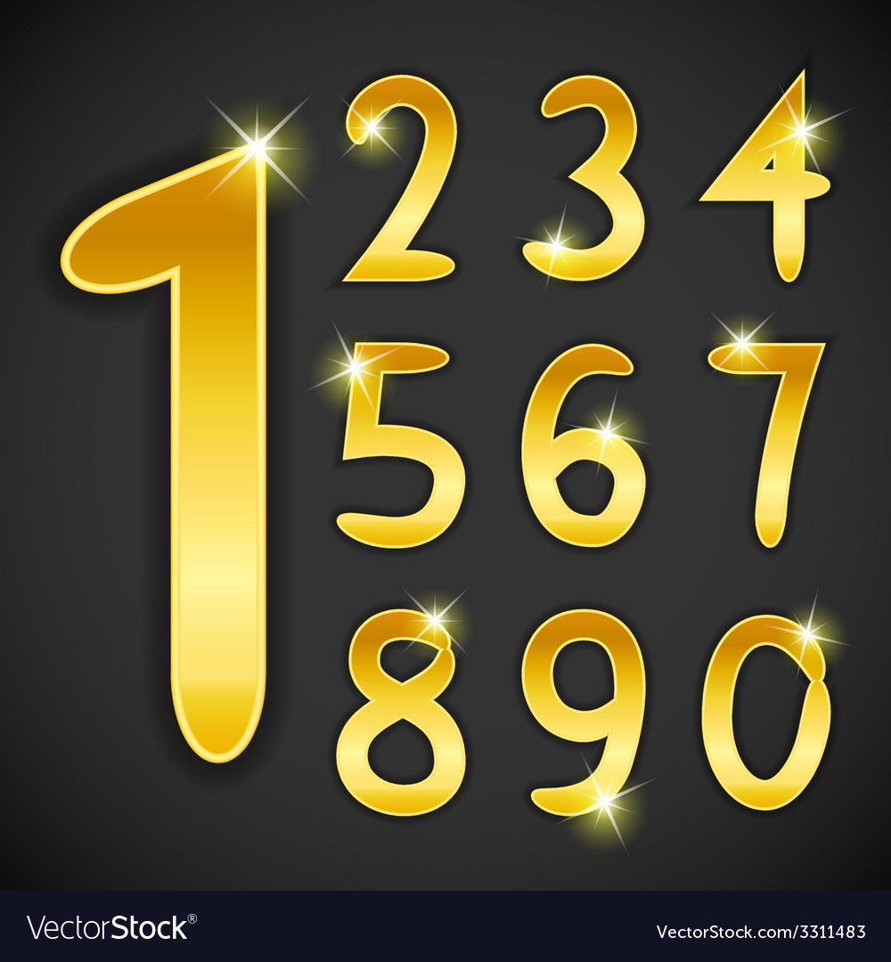 Number set in golden style on black background vector | Price: 1 Credit (USD $1)