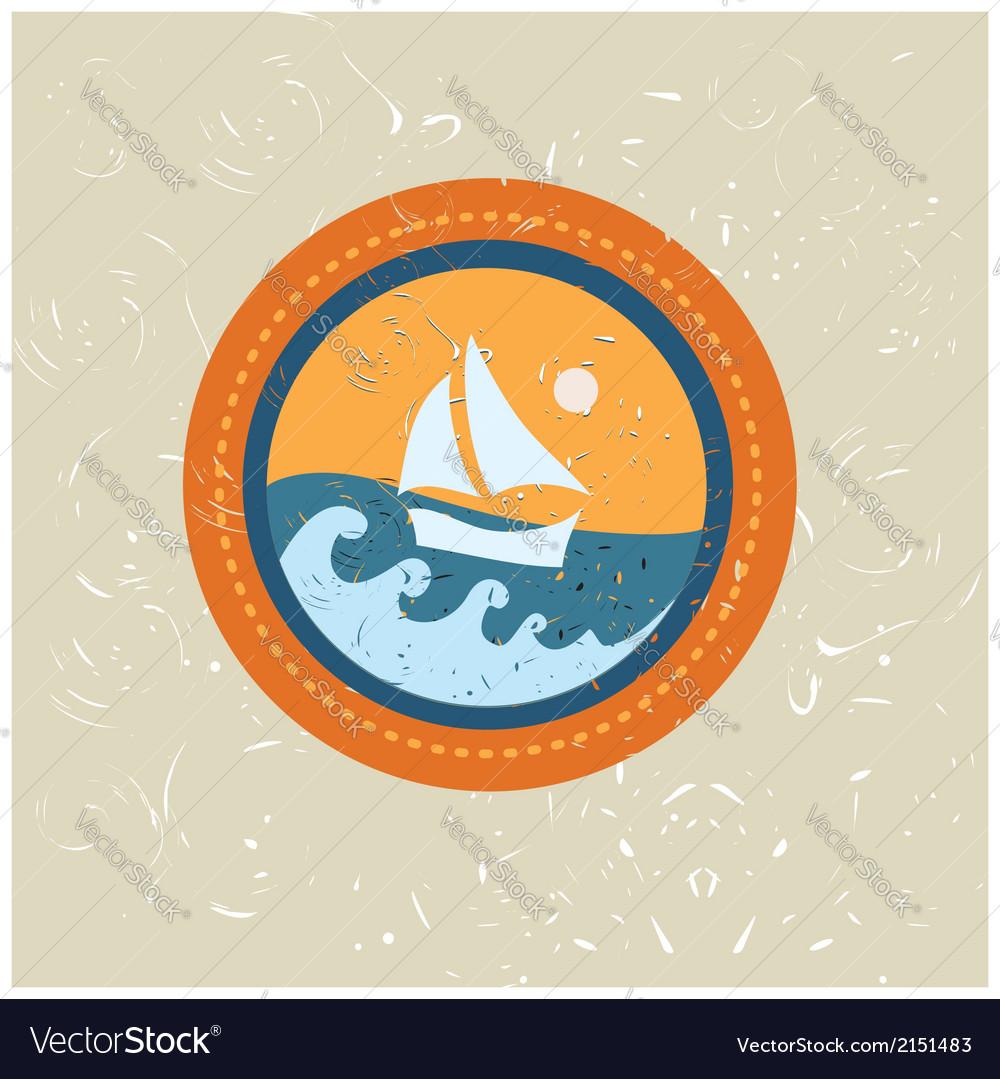 Summer boat badge vector | Price: 1 Credit (USD $1)
