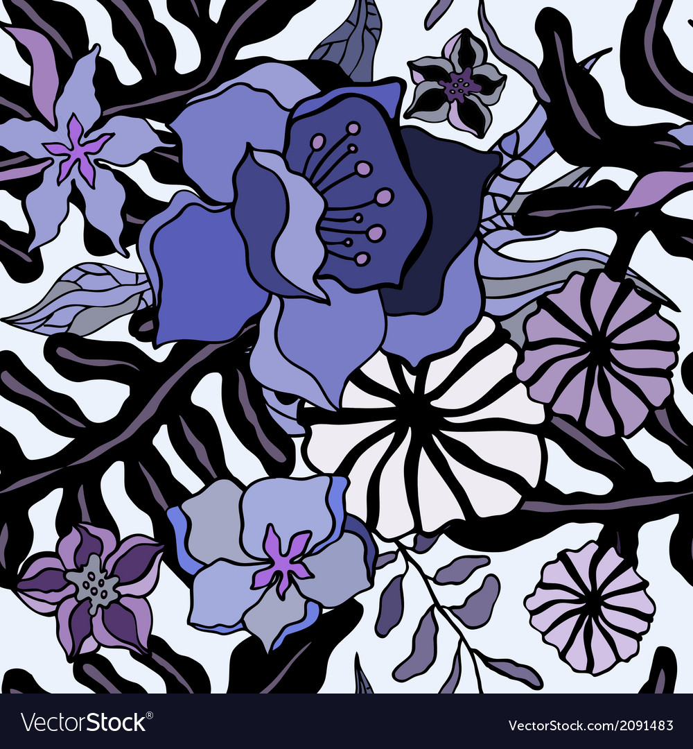 Tropical flowers background seamless pattern vector | Price: 1 Credit (USD $1)